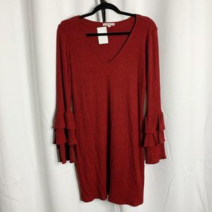 New Red haute L ribbed tiered sleeve mini dress